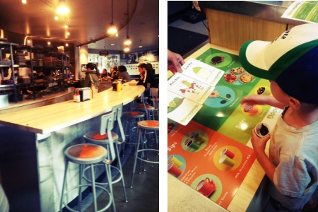 Skillet restaurant counter & kids' ordering counter at Beansprouts at Armory