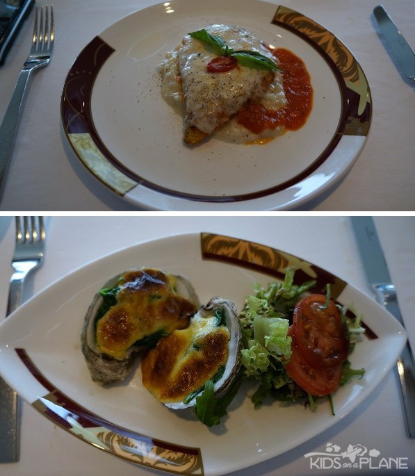 Palo Champagne Brunch Chicken Parmesan and Oysters Rockefeller | KidsOnAPlane.com #cruise #disney #food