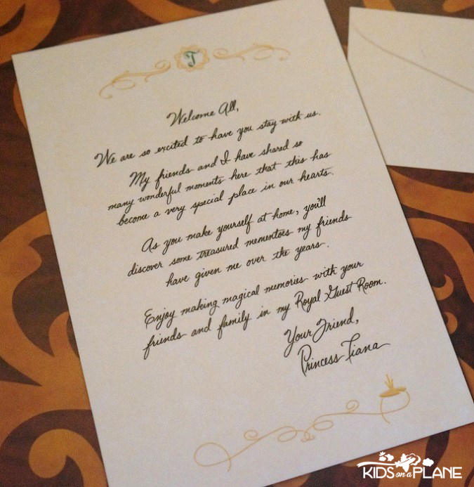 Royal Guest Room Port Orleans Riverside Table Letter from Tiana | KidsOnAPlane.com #disneyworld #hotel #review