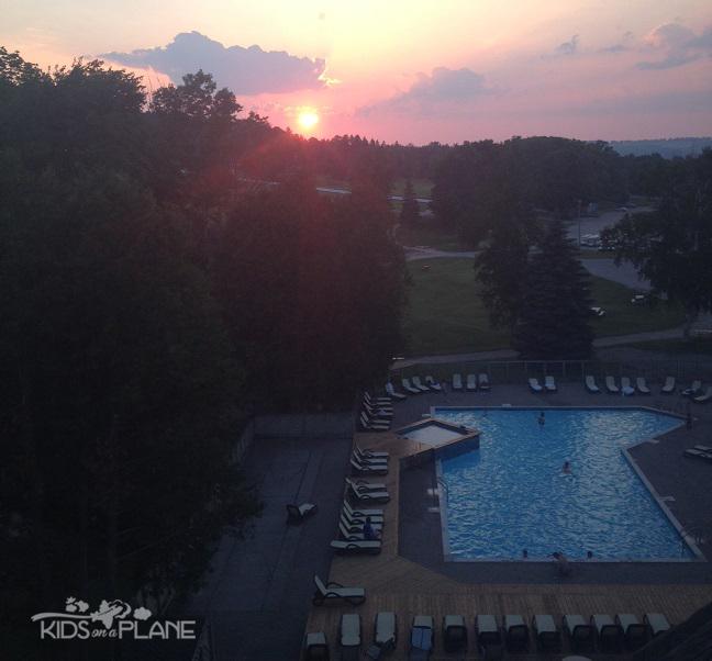 Horseshoe Resort Review Sunset View from Patio - KidsOnAPlane.com